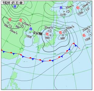 6月2日(金)6時の実況天気図