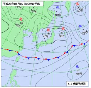 6月2日(金)9時の予想天気図