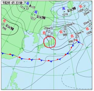 6月2日(金)15時の実況天気図