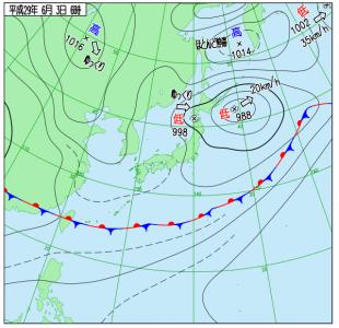 6月3日(土)6時の実況天気図