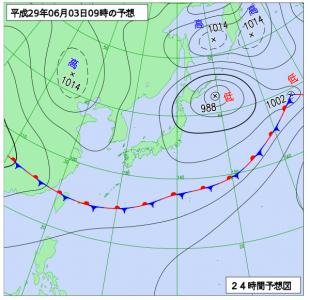 6月3日(土)9時の予想天気図