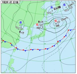 6月3日(土)15時の実況天気図