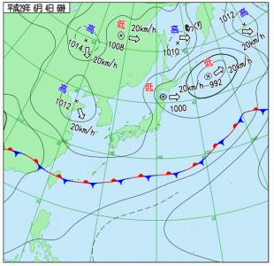 6月4日(日)6時の実況天気図