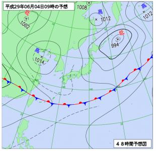 6月4日(日)9時の予想天気図