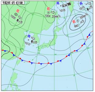 6月4日(日)15時の実況天気図