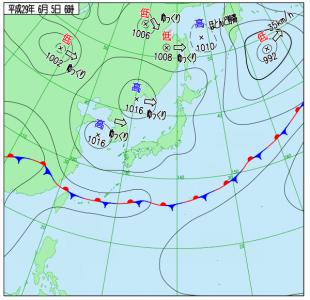 6月5日(月)6時の実況天気図