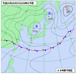 6月5日(月)9時の予想天気図