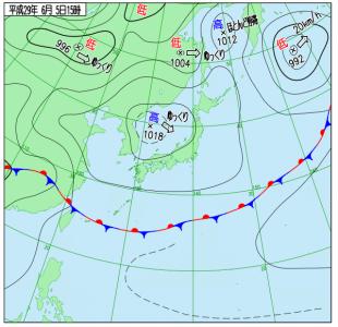 6月5日(月)15時の実況天気図