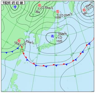 6月6日(火)6時の実況天気図