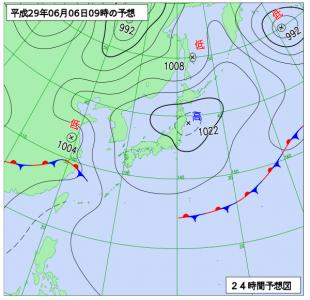 6月6日(火)9時の予想天気図