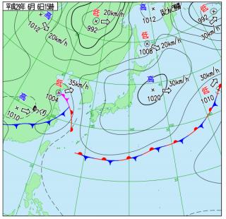 6月6日(火)15時の実況天気図