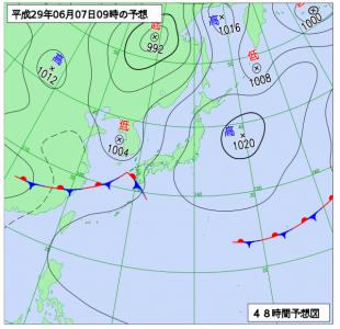 6月7日(水)9時の予想天気図