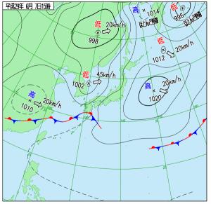 6月7日(水)15時の実況天気図