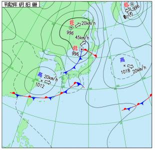 6月8日(木)6時の実況天気図