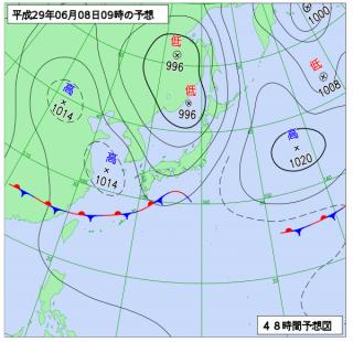 6月8日(木)9時の予想天気図