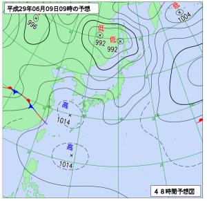 6月9日(金)9時の予想天気図