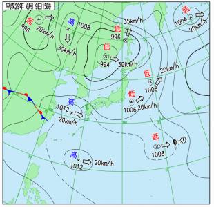 6月9日(金)15時の実況天気図