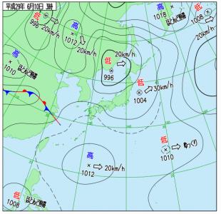 6月10日(土)3時の実況天気図