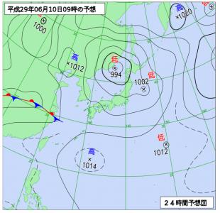 6月10日(土)9時の予想天気図