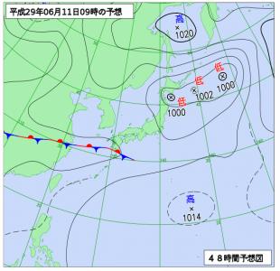 6月11日(日)9時の予想天気図