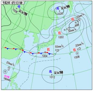 6月11日(日)15時の実況天気図