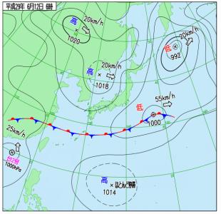 6月12日(月)6時の実況天気図