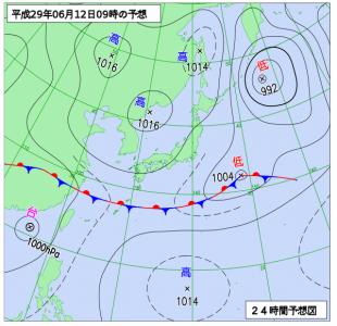 6月12日(月)9時の予想天気図