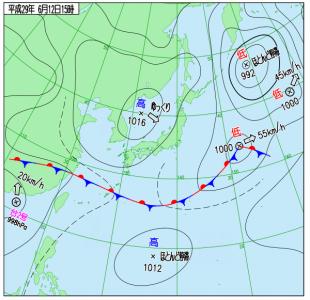 6月12日(月)15時の実況天気図