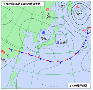6月13日(火)9時の予想天気図