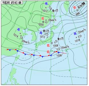 6月14日(水)6時の実況天気図