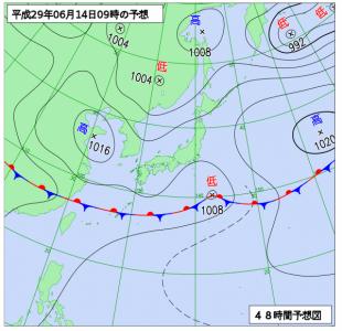 6月14日(水)9時の予想天気図