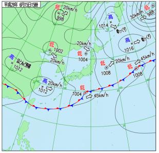 6月15日(木)15時の実況天気図