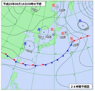 6月17日(金)9時の予想天気図