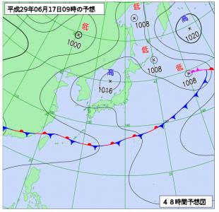 6月18日(土)9時の予想天気図