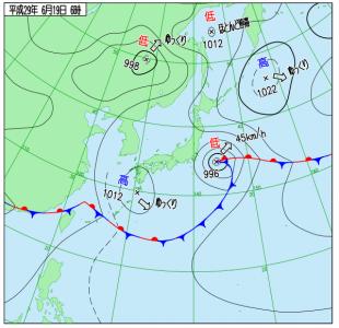 6月19日(月)6時の実況天気図