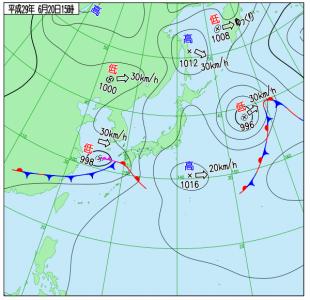 6月20日(火)15時の実況天気図