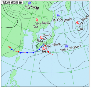 6月21日(水)6時の実況天気図