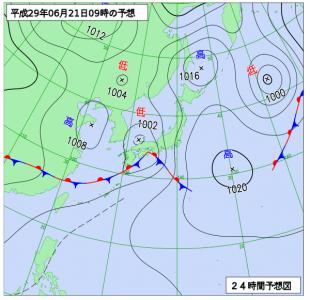 6月21日(水)9時の予想天気図