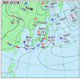 6月21日(水)15時の実況天気図