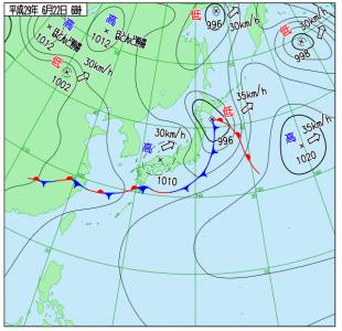 6月22日(木)6時の実況天気図