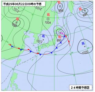 6月22日(木)9時の予想天気図