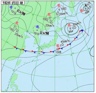6月23日(金)6時の実況天気図