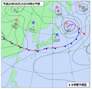 6月23日(金)9時の予想天気図