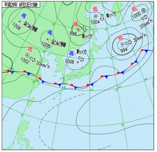 6月23日(金)15時の実況天気図