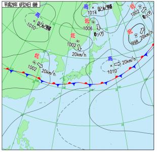 6月24日(土)6時の実況天気図