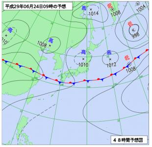 6月24日(土)9時の予想天気図