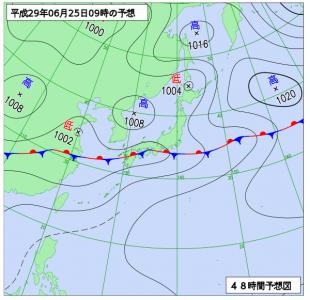 6月25日(日)9時の予想天気図