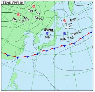 6月28日(水)6時の実況天気図