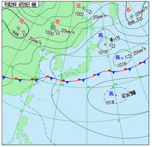 6月29日(木)6時の実況天気図
