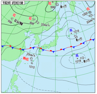 6月29日(木)15時の実況天気図